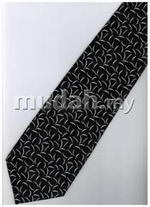 EB14 Black White Quality Striped Formal Neck Tie