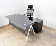 Black Tempered Glass Top Table With Ergo Chair