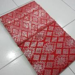 Samping songket merah cili sulam silver 2meter