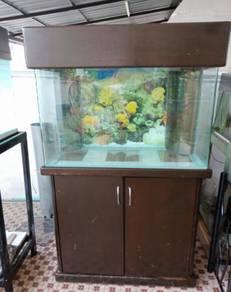 Aquarium 3 kaki nyatoh Cabinet curve tank
