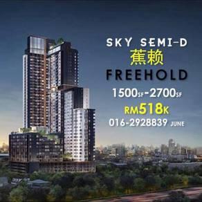 Sky Semi-D Condo 1500sf 0% D/P Free 2 year's maintenance At Cheras