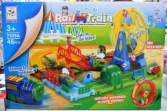 Toy rail train with track and accessories- 46pcs