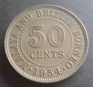 Malaya & British Borneo 50 Cents 1954 (Item B)