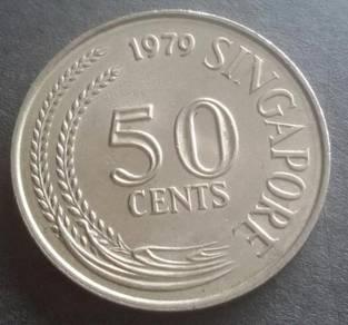 Duit Syiling Singapore 50 Cents 1979