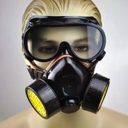 Industrial 2 Carbon Cartridge Gas Mask + Goggles