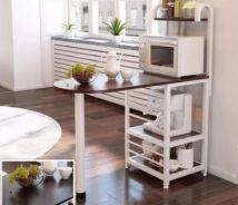 Compact Space Saving Bar Table With Shelves