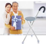 2 in 1 Foldable Walking Aid Stick And Seat