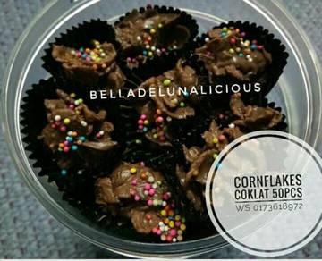 Biskut cornflakes coklat