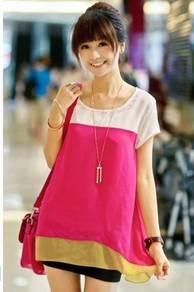 Maternity layer chiffon blouse - pink (l, xl, xxl)