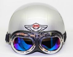 HELMET (Silver with Logo)+Goggles+Free POS