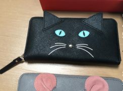 Authentic Kate spade black wallet meow limited