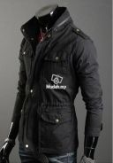 Black Army Hooded Slim Wind Korean Casual Jacket