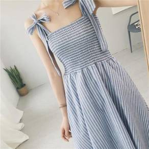 Blue white stripe sleeveless midi dress