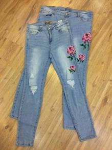 Rose denim pants