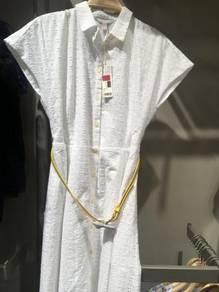 White nice dress with belt