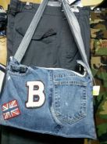 Custom made denim jeans bag