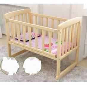Wooden Baby Cot / Baby Cradle (tanpa tilam)