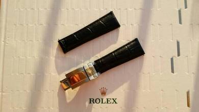 ROLEX 20mm Black Crocodile Leather Watch Strap