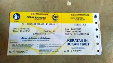 Tiket untuk diletgo muadzam ke k.bharu