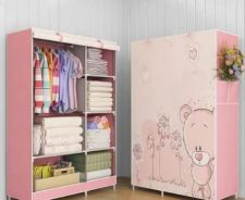 Pink Bear Compact Curtain Space Saving Wardrobe