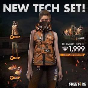 Orange techwear set free fire