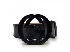 Gucci Black Imprime Interlocking Belt