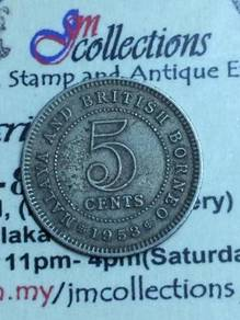 5 CeNTS MALAYA & BRITISH BORNEO 1953