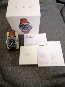 Hybrid smartwatch - dark blue brown leather