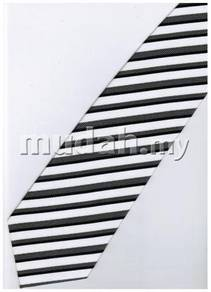 EB17 Black White Quality Striped Formal Neck Tie