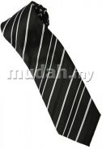 EB3 Black White Quality Striped Formal Neck Tie