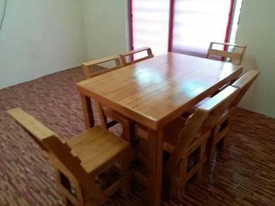 Meja makan kayu pallet 6ore