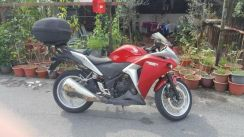 Honda CBR 250 (year 2012) with large box and rack.