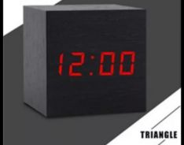 Jam Led wooden clock alarm