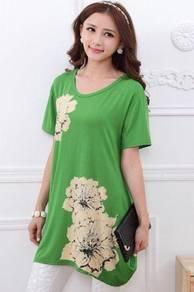 Maternity glitter flowers shirt blouse - green