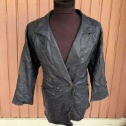 Authentic Preloved Navy Blue Leather Jacket