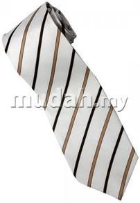 EBR2 Brown Black White Striped Formal Neck Tie