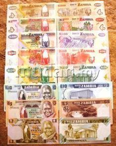 ZAMBIA 2,5,10,20,50,100,500,1000kwacha 8 pcs unc