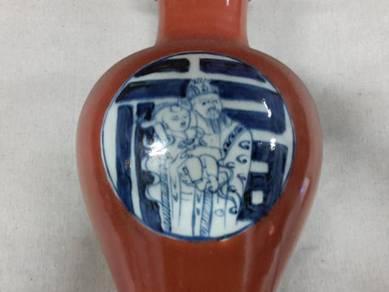 Vase QingHua Hand Paint Auspicious Fuk Bless