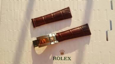 ROLEX 20mm Brown Crocodile Leather Watch Strap