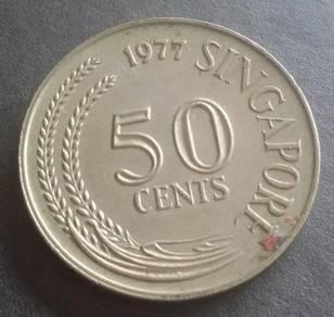 Duit Syiling Singapore 50 Cents 1977