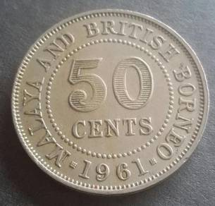Malaya & British Borneo 50 Cents 1961(Item B)