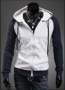 Two Tone Mixed Color Hooded Sweater Jacket (Grey)