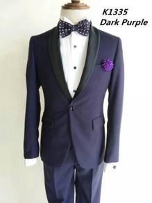 1 Button Dark Purple Korean Men's Suits #K1335