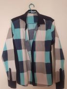 Blue chess collared long sleeve (slim fit)