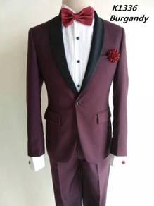 1 Button Burgandy Korean Men's Suits #K1336