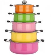 Set Of 5 Multi Color Stainless Steel Cooking Pots