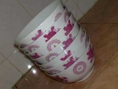 Mangkuk oriental liling pink white rice bowl 7