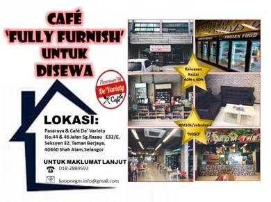 Cafe fully furnish untuk disewa