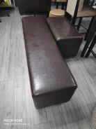 Leather seat bench (one short and one long)