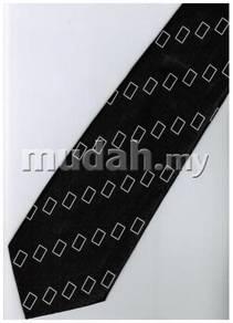 EB10 Black White Box Striped Formal Neck Tie